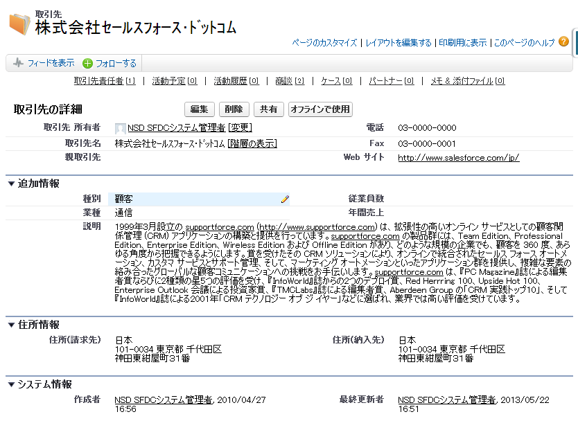 インライン編集可能なsalesforce画面